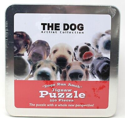 Puppy 550 Piece Jigsaw Puzzle Dogs Run Amok in a Tin  83016-8 USAopoly Usaopoly Dog Puzzle