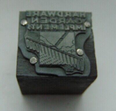 Vintage Printing Letterpress Printers Block Hardware Garden Implements