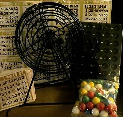 TABLETOP BLACK BINGO CAGE W/ ACCESSORIES, 2000 CARDS & 1200 PLASTIC CHIPS!!
