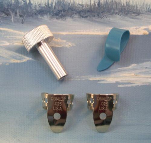 PEDAL STEEL GUITAR PLAYERS ~ .025 NICKEL ~ MED BLUE 52M ~ 4 PC PICKS / TUNER SET