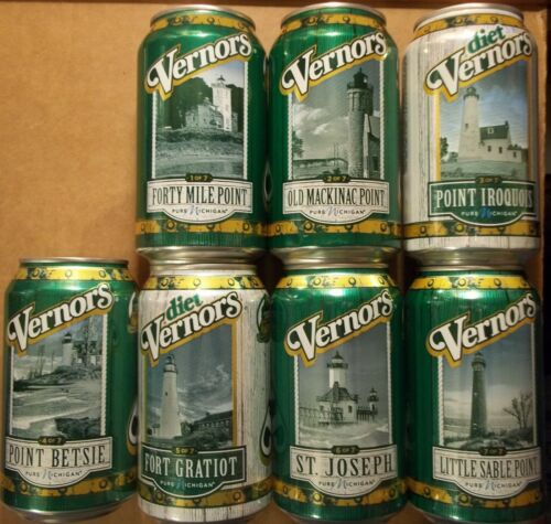 Set OF 7 2018 Michigan Lighthouse Vernors Ginger Ale Soda Pop Cans FREE SHIPPING