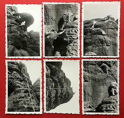 6 x Foto Sächsische Schweiz Kletterei Bergsteiger am Spitzerturm 1960/61  ( 8494