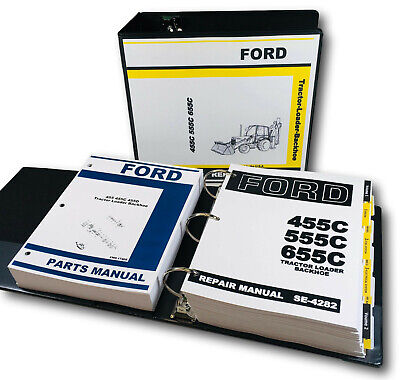 Ford 455c Tractor Loader Backhoe Service Repair Manual Parts Catalog Shop Set