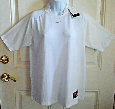 Nike Team Apparel Dri-Fit White High Collar Athletic Workout Top Size M NWT