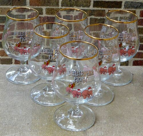 6 Delirium Tremens Noel Pink Elephant Tulip Snifter Gold Rim Goblet Beer Glasses