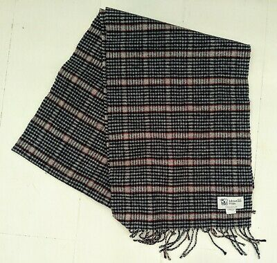 Johnstons of Elgin - grey/red/white glen check pure wool scarf