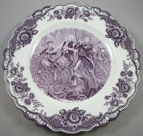 EIGHT Crown Ducal Historical American Scenes Mulberry Transferware Plates