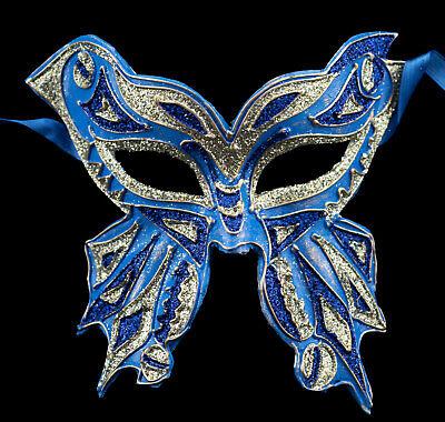Mask from Venice Farfella Blue Silver Glitter Butterfly Paper Mache 22522