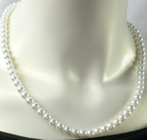 """Vintage 18"""" White Faux 6mm Pearl Light Sturdy Beads Pretty Necklace Old Style"""