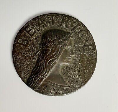 Antique Spelter Relief Small Plaque Of Beatrice Portinari Dante