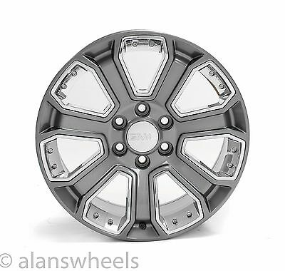4 New Gmc Sierra Yukon Denali Gun Metal Chrome Inserts 20  Wheels Rims Lugs 5660