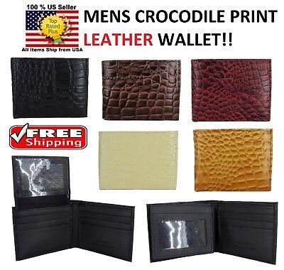Crocodile Alligator Genuine Leather - MEN CROCODILE ALLIGATOR SKIN GENUINE LEATHER BI FOLD BI-FOLD WALLET CARD HOLDER
