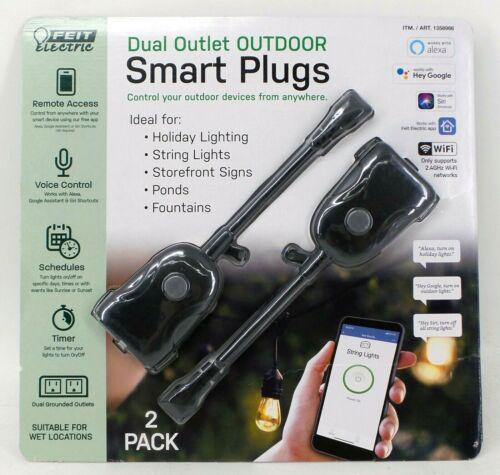 2 Pack Feit Electric Wi-Fi Smart Outdoor Plug Model: BPPLUG/WIFI/WP/2