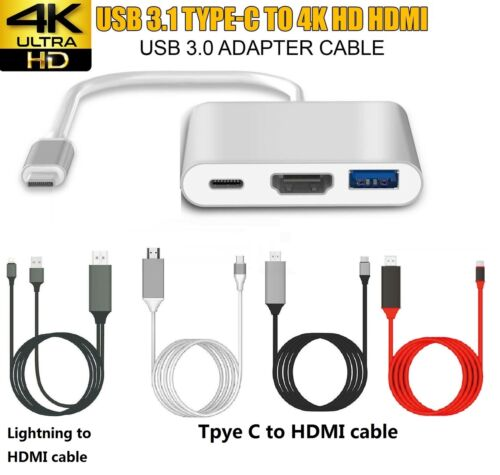Type C to USB-C HDMI USB 2.0/ Lightning to HDMI Cable Adapter For Phone Iphone