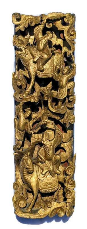 Antique Chinese Gilt Lacquer Wood Hand Carved Panel with Warriors 19 Century