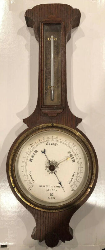 Rare Negretti & Zambra Antique Large London Wall Barometer Weather Forecaster