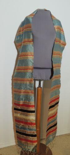Edwardian  Silk Faille Striped Long Scarf / Stole / Shawl w Fringe
