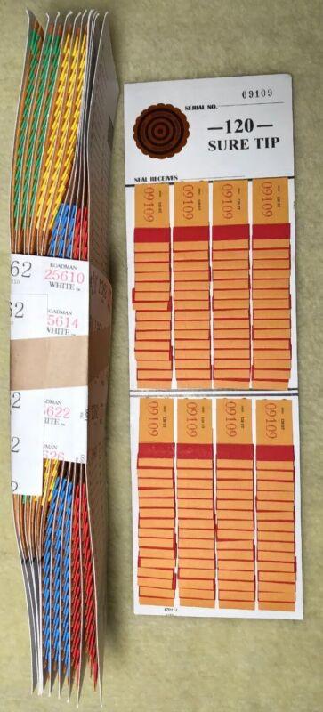 1 Dozen 120 SURE TIP BOARDS, Raffle Tickets, Jar Tickets, All Tips, Raffles