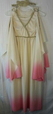 Girl's-Gold-Ivory-Pink GREEK-ROMAN GODDESS School Project Dress-Up COSTUME Large