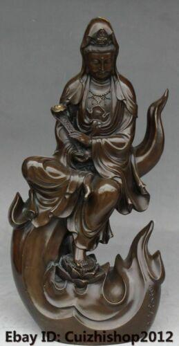 "20"" Chna Pure Bronze Lotus Kwan-Yin Guan Yin Bodhisattva Goddess Ru Yi statue"