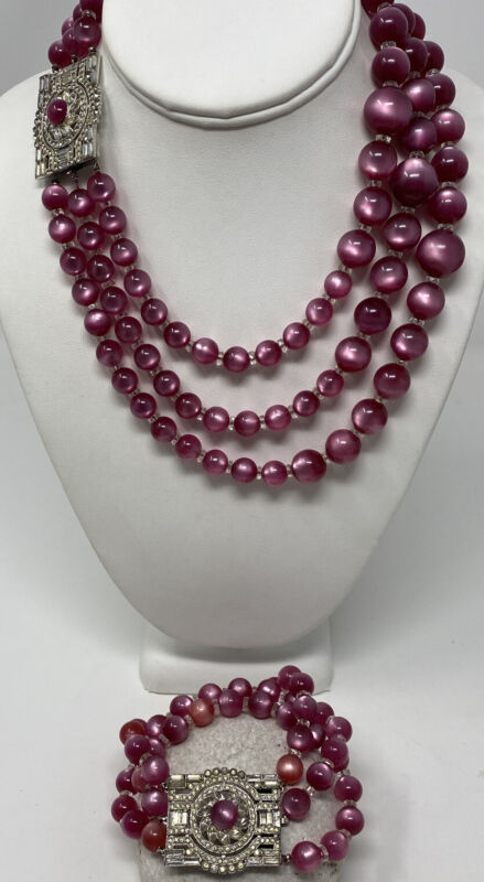 ART DECO VTG RUBY TRIPLE STRAND MOONGLOW LUCITE RHINESTONE NECKLACE & BRACELET