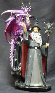 GREY-Wizard-Dragon-Staff-with-Headpiece-Statue-Figurine-H11