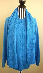 Mens Blue Hand Knitted Jumper + Scarfe Crew Neck Cable Knit Tweed Heads South Tweed Heads Area Preview
