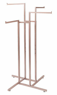 4-way Clothing Rack Rose Gold Straight Arm Garment Retail Display 48 - 72 H