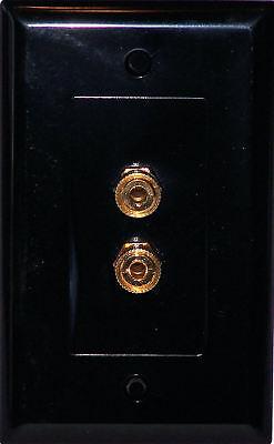 Black Speaker Wall Plate 2 Terminal Binding Post Stereo Media Room Series ()