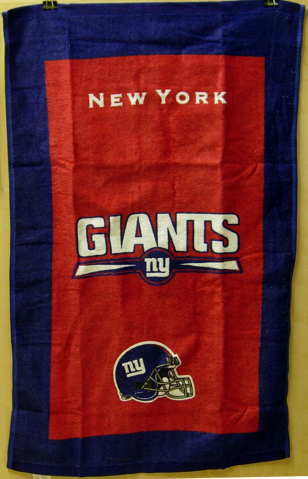 """Opened Package Kr Nfl Team Bowling Towel York Giants 100% Cotton 16""""x26"""""""