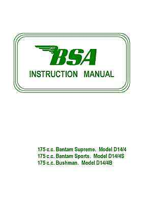 BSA Bantam Supreme, Sports, Bushman D14 Instruction Manual D14/4/ D14S