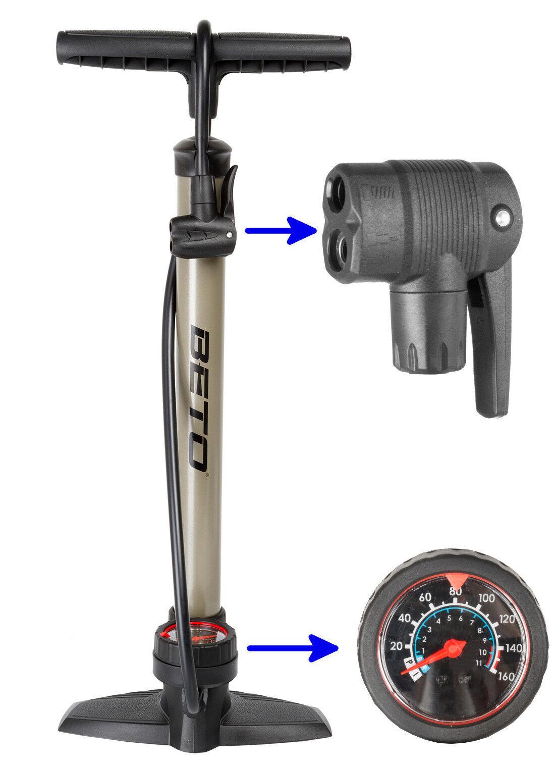 BETO Standpumpe mit Manometer Hochdruck Luftpumpe Fahrradpumpe für alle Ventile
