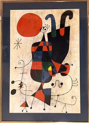Joan Miro Framed Art People And Dog In The Sun