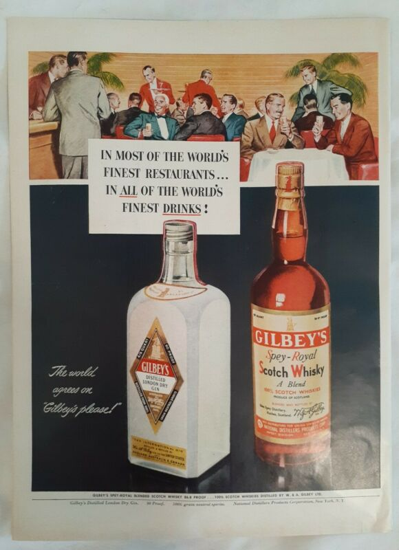 Original 1950 Vintage Print Ad Gilbey