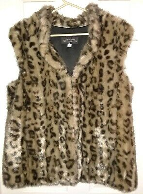 Donna Salyers Fabulous Furs Leopard Faux Fur Hook Vest - Large New without Tags