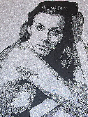 Portrait Kunst nach Foto mein gestricktes Bild schwarz weiß Lurex Strick