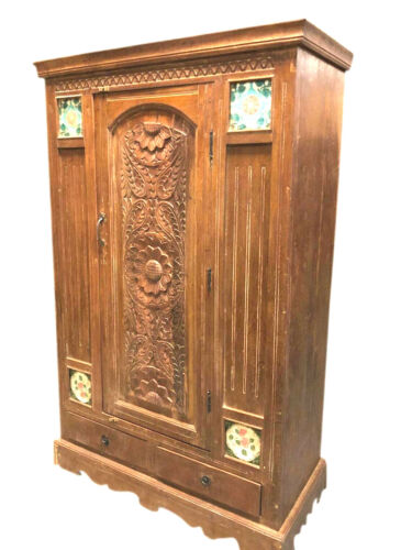 Antique Spanish Inspired Rustic Armoire Cabinet Rustic Tiles Accent Storage