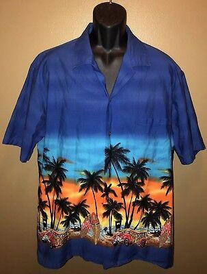VTG WINNIE FASHION 90s Hawaiian Shirt Beach Island Palm Trees Surfing Sunset 2XL
