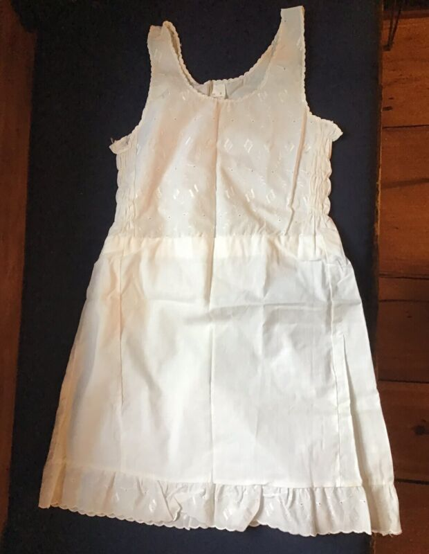 Vintage NWOT 50's Miss Jane Brand Girls Size 8 White Slip Cotton w/ Eyelet Lace