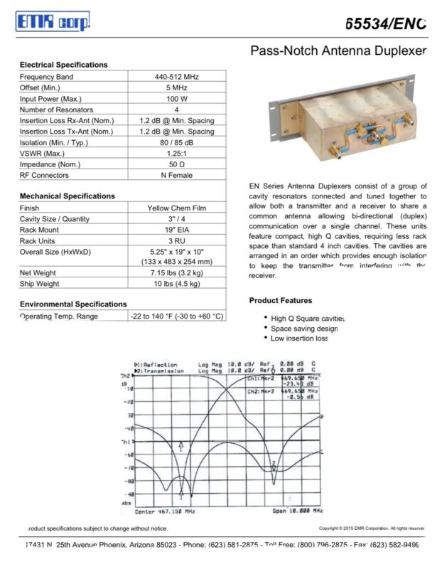 EMR 65534/ENC UHF Repeater Duplexer