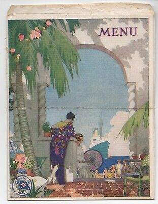 Graphic 1929 Menu Mailer  S.S. Admiral Evans Pacific Mail Steamship Company  for sale  San Francisco
