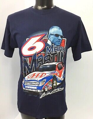 Nascar Mark Martin #6 Roush Racing AAA Men's Blue Graphic T-Shirt Size Large D1a 6 Aaa Nascar Race