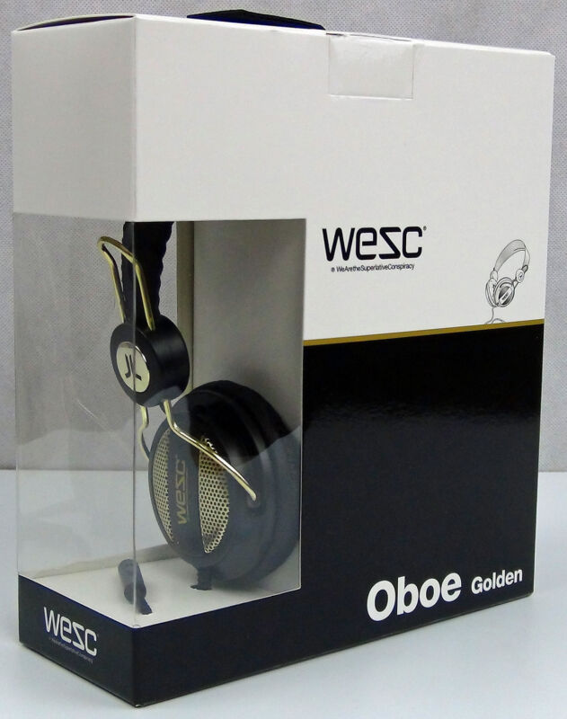WeSC Oboe Golden Headphones Factory Sealed Black/Gold Brand NEW Retail Box