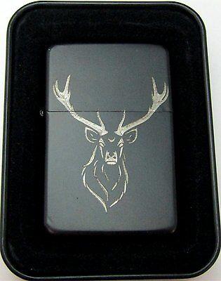 Elk Buck Deer Rack Engraved Black Cigarette Lighter Tin Case LEN-0163