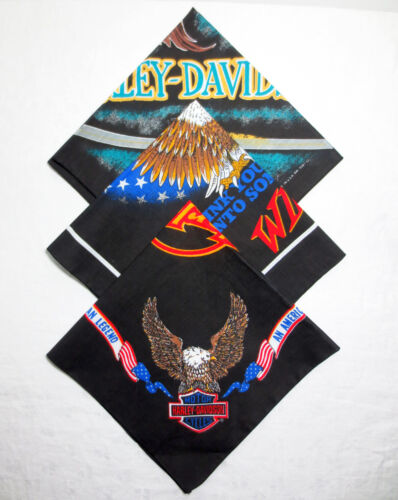 Vintage 1990s - Harley Davidson - Lot of 3 Bandanas / Scarves - New without Tags