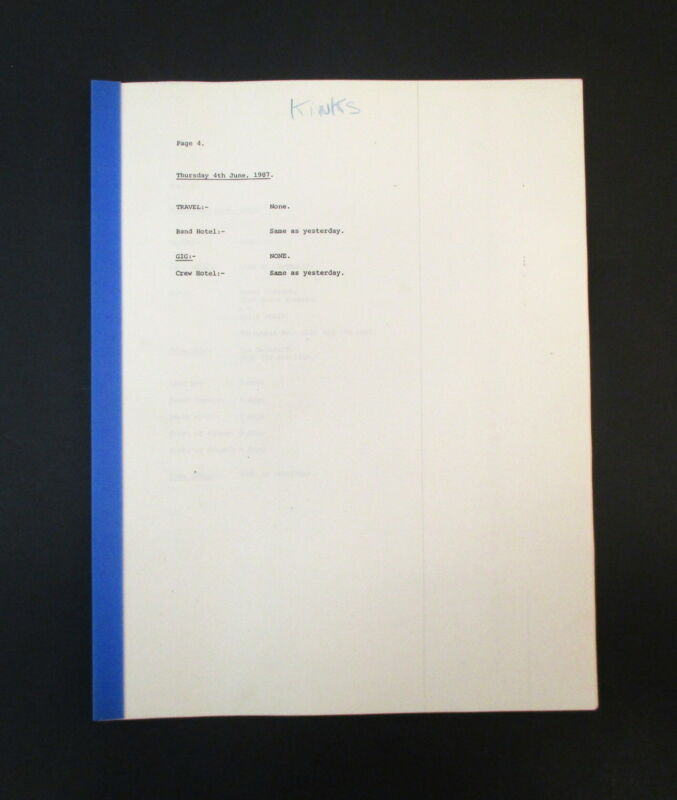 The Kinks US Tour 1987 Band & Crew Itinerary Book
