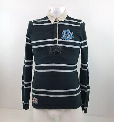 "Superdry Tokyo Rugby Shirt Green Striped Sz 33"" Chest XS"