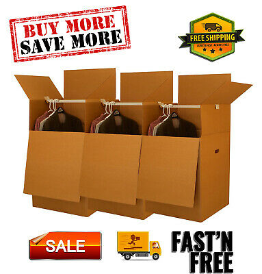 Wardrobe Moving Boxes Bundle Of 3 Larger More Cubic Feet 24x24x40.