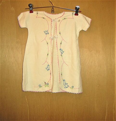 Vintage 1950s Baby Flannel Nightgown Hand Embroidered Satin Ties Short Sleeves