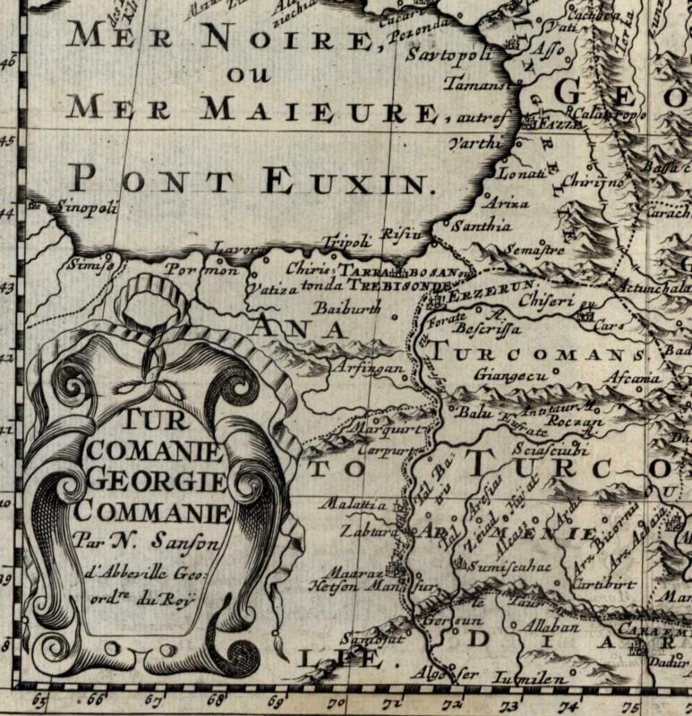 Georgia Russia Turkey Armenia Moscovy Black Sea 1699 Sanson rare old map